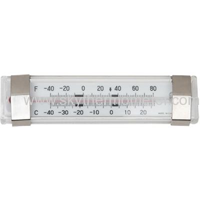 Horizontal refrigerator thermometer