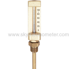 v shaped industrial glass thermometer