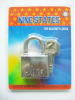 New square iron padlock with blade key (38mm)