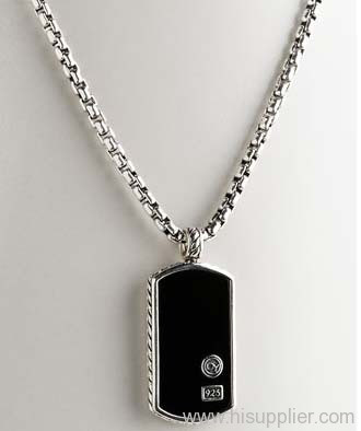 Sterling silver dog tag 925 silver jewelry black agate dog tag sterling silver dog tag 925 silver jewelry black agate dog tag neckalce aloadofball Images