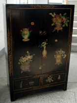 Antique black painting cabinet
