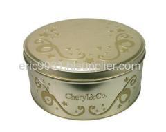 round embossed cookie tin