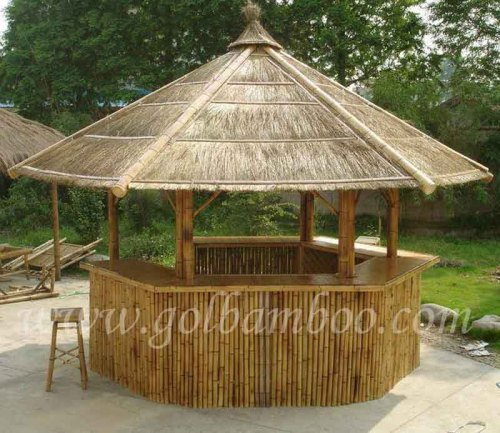 Bamboo gazebo bar house pavilion canopy umbrella home u0026 garden & Bamboo gazebo bar house pavilion canopy umbrella home ...
