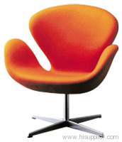 Swan Chair With Microfiber Fabric Or Leather And Fiber Glass