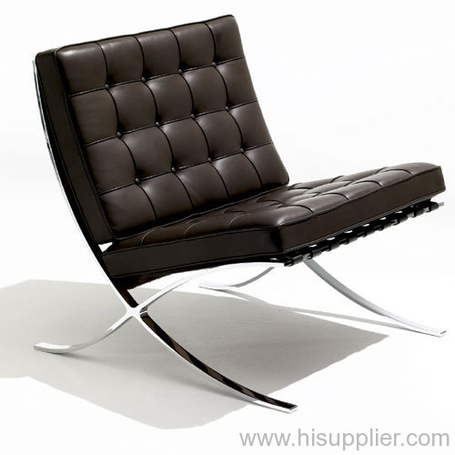 Barcelona Chairs And Ottoman With Leather And Stainless Steel