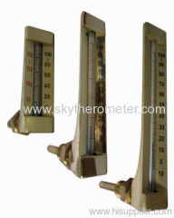 L shape glass thermometer