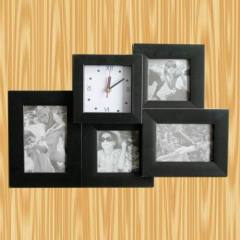 black combination photo frame +clock