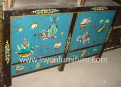Asia furniture chinese painted sideboard