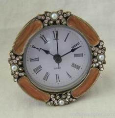 enamel pewter clock