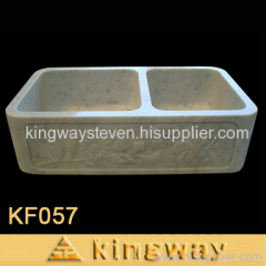 Double Bowl Stone Farmhouse Sink