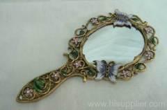 pewter hand mirror