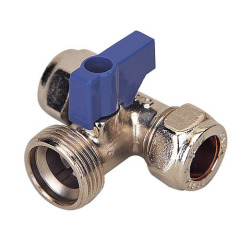 Brass tee ball valve