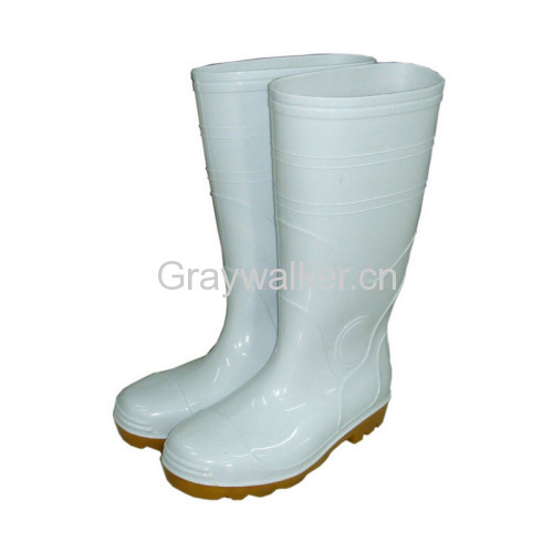 White PVC working boots