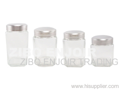 Glass jar with stainless steel case