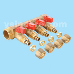 brass linear manifold with ball valve