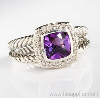 925 sterling silver rings inspired jewelry 7mm Amethyst Petite Albion Ring