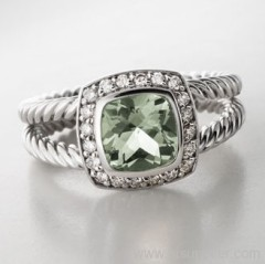sterling silver ring prasiolite ring 925 sterling silver ring fashion jewelry