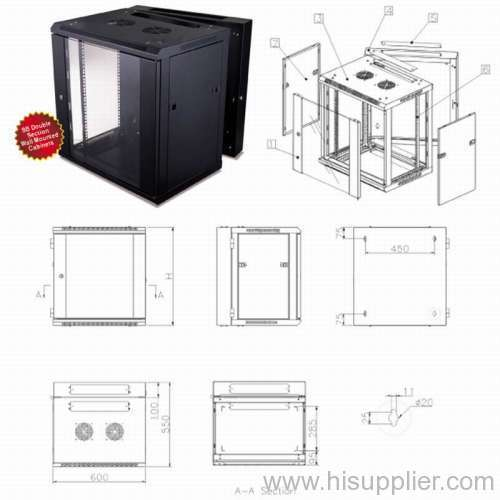 6u/9u/12u/15u/18u/22u wall mounted network cabinet