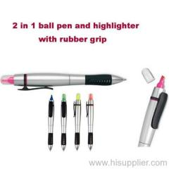 2in1 ball pen with highlighter pen