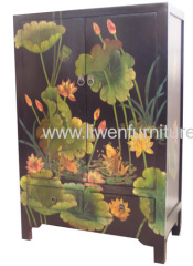 Reproduction painted water lily cabinets