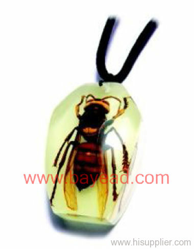 Real wasp in man made insect amber necklace pendant fashional real wasp in man made insect amber necklace pendant fashional jewelryso cool gift mozeypictures Gallery