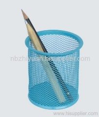Blue Wire Mesh Pencil Holder