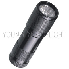 9 LEDs portable metallic flashlight