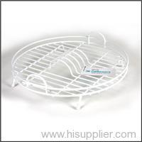 White Plastic Coated Round Dish Drainer