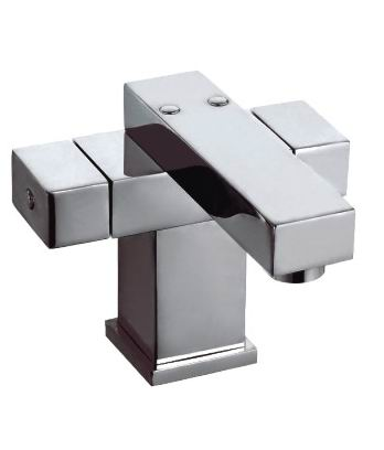 Two Handle Square Basin Mixer Tap