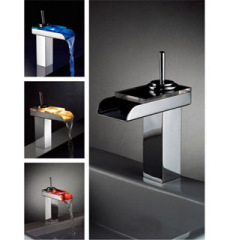 Waterfall LED Light Glass Basin Faucet