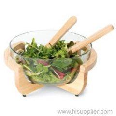 glass salad dish, glass salad bowl