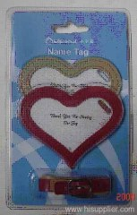 mini heart shaped name/Luggage Tag