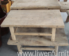 Natural color antique elm wood table