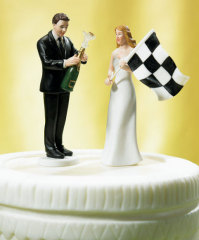 Bride at Finish Line with Victorious Groom Figurine