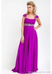 chiffon straight neckline prom dress