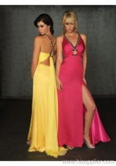 New Design chiffon sexy deep neck evening dress