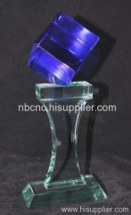 glass trophy with blue part