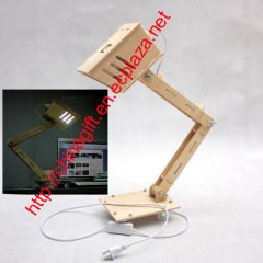 Funny Assembly DIY Wood Table Desk Lamp Light
