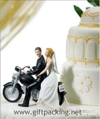 """100% handwork polyresin Motorcycle """"Get-away"""" Wedding Couple Figurine"""