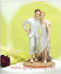 100% handwork polyresin Beach Bride And Groom Cake Toppers