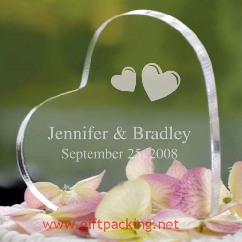 100% handwork polyresin Personalized Acrylic Heart Cake Toppers