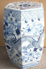blue and white ceramic stool