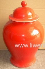 Chinese Sexy Red Ceramic pot with top