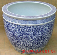 blue and white porcelain flower pot