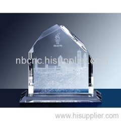 crystal award with 2d engraving