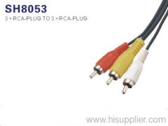 3 RCA Plug To 3 RCA Plug