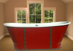 red color skirt bath