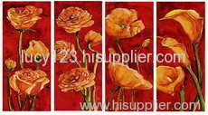 four panel oil painting