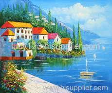 med landscape oil painting