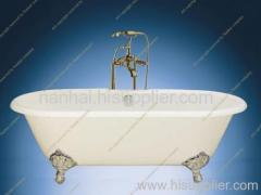 white cast iron bathtub